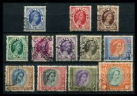 Lot 27559:1954-56 QEII Pictorials SG #2,4-14 1d, 3d to 10/-, Cat £26. (12)