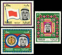 Lot 27962 [1 of 2]:1968 Sheikh Khalid SG #264-8 2r, 3r, 4r, 5r & 10r Air Mails, Cat £31.