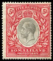 Lot 28199:1921 KGV Wmk Script CA SG #85 5r black & scarlet, Cat £95.