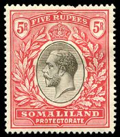 Lot 28200:1921 KGV Wmk Script CA SG #85 5r black & scarlet, pulled perf, Cat £95.