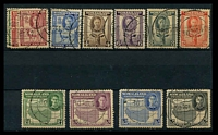 Lot 4165:1942 KGVI Portrait Centred SG #105-16 complete set, Cat £38, all cancelled 30OCT42.