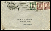 "Lot 28418 [1 of 2]:1944 (Jul 4) use of 1/- & 1½d pair on air cover from Salisbury to ""Political Branch/EA Command"", double-circle 'E.A./6VIIB44/A.P.O. 52' (Italian Somalia ?)."