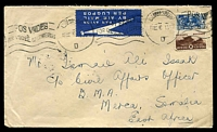 Lot 25184:1946 (Mar 13) use of 3d & 1/- on air cover to Merca, Somalia