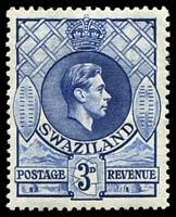 Lot 4405:1948-54 KGVI SG #32a 3d deep blue, Cat £17.