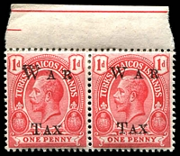 Lot 28479:1919 (17 Dec) War Tax SG #151 1d scarlet marginal pair, with Doubling of W on left unit.