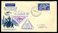 Lot 737:WCS 1959 Carey Flight Anniversary on black, dark blue & blue cover, 7d RFDS, stamped address, with triangle cinderella and signed by RG Carey.