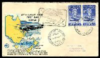 Lot 4506 [1 of 2]:WCS 1958 Tasman Crossing black, blue & yellow, 8d Kingsford Smith pair, stamped address, Boomerang flight cover, Sydney - NZ - Sydney