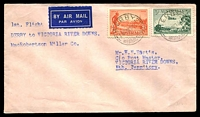 "Lot 864:1934 Derby - Victoria River Downs AAMC #429a (Oct 4) Eustis cover endorsed ""No office at Victoria R. Downs/Private bag on plane"". Rare intermediate, the total mail carried for the entire trip was 822 items."