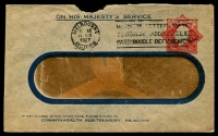 Lot 1005:1924-28 1½d Red KGV 'Star' Solid 'OS' With 'POSTAGE' BW #EO15 on window envelope of Melbourne Sub-Treasury, a little aged, used 1927.