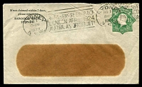 Lot 484:1923-24 1½d Green KGV Star With 'POSTAGE' BW #ES55 on window envelope, for Sargood Bros, Sydney, used 1923.