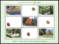 Lot 630:2007 Botanic Gardens M/S special sheet only produced for the 2007 Year Book. Limited edition of just 8,000.