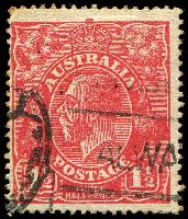 Lot 2631:1½d Red Die I - [18R40] TH joined, partially obscured by pmk.