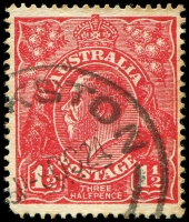 Lot 778:1½d Red Die I - [17L56] Flaw under L of LIA etc - State II - line joining T of THREE to A of HALF