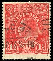 Lot 498:1½d Red Die I [17L23] Flaw in upper white margin at right and break in shading line on King's neck - State II
