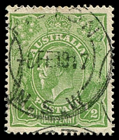 Lot 1108:½d Green Comb Perf - BW #63a Wmk inverted, Cat $40.