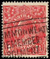 Lot 1868:1½d Red Die I - [24R21] Lower frame missing below PE of PENCE, partially obscured by pmk.