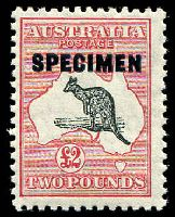 Lot 1107:£2 Black & Red - BW #58x opt 'SPECIMEN' type D, Cat $75, with unplated Notch near tail tip.