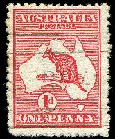 Lot 588:1d Red Die I [BR33] Broken shading line above T of AUST - State II broken base of 2nd N of PENNY
