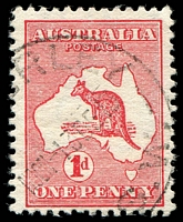 Lot 119:1d Red Die I [CL60] Break in shading lines below AU of AUST and E of POSTAGE - State II