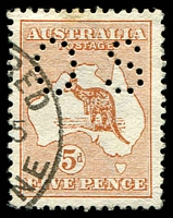 Lot 739:5d Chestnut BW #16bb perf small 'OS', very light stain, Cat $90.