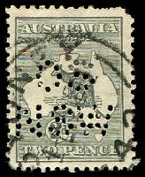 Lot 140:2d Grey Die I BW #7(2)g with Scratch under P of POSTAGE, perf 'OS/NSW', rounded corner, Cat $60.