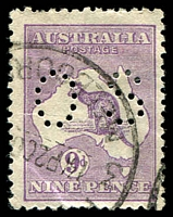 Lot 979:9d Violet Die IIB [4R14] perf 'OS' with White flaw on curve of R of AUSTRALIA, etc, corner crease.