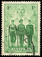 Lot 3221:1940 AIF BW #218j 1d green with Broken wings on airman [Sh? L4/8,9], Cat $15.