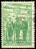 Lot 2866:1940 AIF BW #218m 1d green Recut shading in TLC, Cat $35.