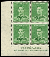 Lot 3185:1941-42 1½d Green KGVI BW #186z McCracken imprint corner block of 4, Cat $20.