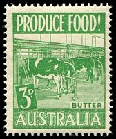 Lot 864:1953 Produce Food BW #287d 3d Butter Retouch in front of roped leg of 2nd cow [3/5], Cat $20.