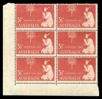 Lot 2914:1957 Christmas BW #338d 3½d red block of 6 with Re-entry to ISTMAS, TRALI & star [ShA 10/1], slightly aged, Cat $40.