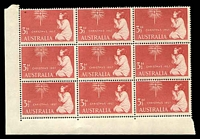 Lot 2915:1957 Christmas BW #338d 3½d red block of 9 with Re-entry to ISTMAS, TRALI & star [ShA 10/1], slightly aged, Cat $40.