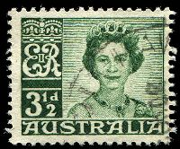 Lot 2921:1959-66 QEII Definitives BW #352d 3½d dark green Re-entry to 'E' & left frame [ShtA L1/10], Cat $20.