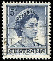Lot 2922:1959-66 QEII Definitives BW #355h 5d blue Recut shading lines left of Queen's hair [ShA R4/5], Cat $75.