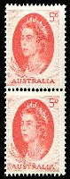 Lot 579:1965-66 5d Red QEII BW #402bc helecon ink, coil pair with large & small holes, Cat $25.