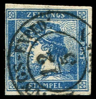 Lot 3503:1851-56 Imperf Newspaper: SG #N11b (0.6k) blue Type II, 4-margins, Cat £160.