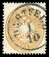 Lot 3108:1863 Arms Perf 14 SG #43 15k brown, Cat £27.