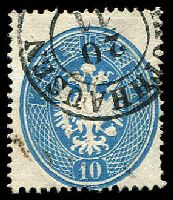 Lot 3311:1863 Arms Perf 14 SG #42 10k blue, Cat £25.