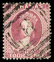 Lot 3712:1882 Wmk Crown/CA Perf 14 SG #43 4d rose, Cat £60, cancelled with 'B' of Nassau.