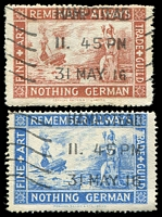 Lot 14:Great Britain - WWI: Remember Always Nothing German x2 (one red-brown, the other blue), used (2)