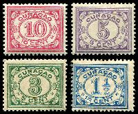 Lot 18945:1915-33 Definitives SG #71,75,78,82 1½c blue, 3c green, 5c mauve & 10c carmine, Cat £17.