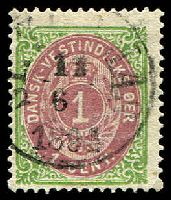 Lot 19093:1873-1902 Bi-Colours Perf 14x13½ SG #10 1c claret & yellowish green, Cat £48, with 1864 St. Thomas cancel.