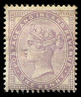 Lot 3555:1881 Wmk imperial Crown SG #171 1d lilac with 14 dots, slight aging, Cat £220.