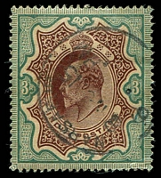 Lot 21491:1902-11 KEVII SG #140 3r brown & green, a little aged, Cat £32.