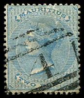Lot 4142:1863-72 Wmk Crown/CC SG #59 2d pale blue, Cat £13, cancelled with BN '4' of Pamplemousses.
