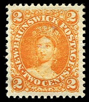 Lot 23297:1860-63 No Wmk Perf 12 SG #10 2c orange, MNG, Cat £32.