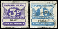 Lot 1208 [2 of 2]:1925-48 Wmk NSW/R 1d, 3d, 9d, 1/- & 3/-, Elsmore Cat $70.