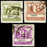 Lot 1208 [1 of 2]:1925-48 Wmk NSW/R 1d, 3d, 9d, 1/- & 3/-, Elsmore Cat $70.