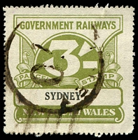 Lot 5413:1925-48 Wmk NSW/R 3/- olive-green, Elsmore Cat $25.