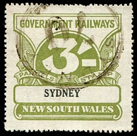 Lot 5411:1925-48 Wmk NSW/R 3/- olive-green, Elsmore Cat $25.